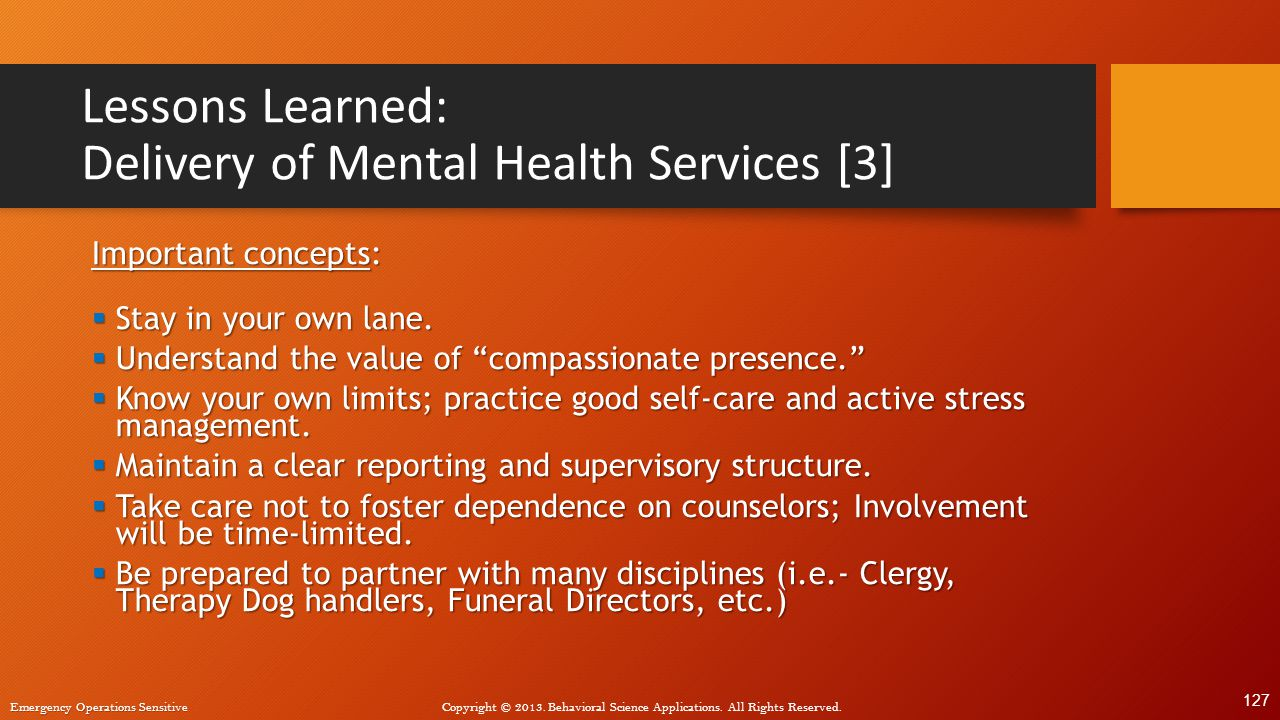 Lessons Learned: Delivery of Mental Health Services [3]